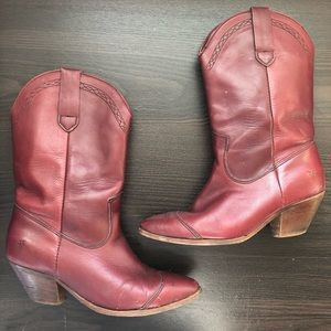 Frye Vintage Red Leather Western Boots